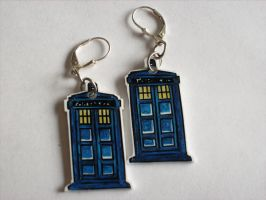 Tardis Earrings by AbruptlyNatural