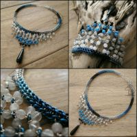 Blue Sky and Black Tear choker by Dark-Lioncourt