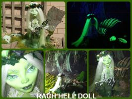 monster high custom repaint ooak mh swamp mermaid by Rach-Hells-Dollhaus