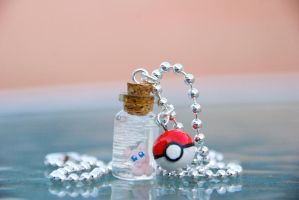 Mew and Pokeball Necklace by IvrinielsArtNCosplay