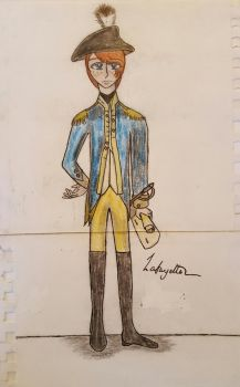 A colored sketch of Lafayette w/ signature by Tiggidou
