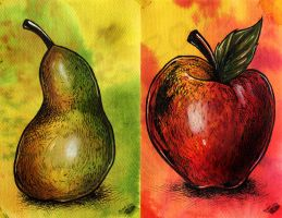 Pear and Apple by Natoli