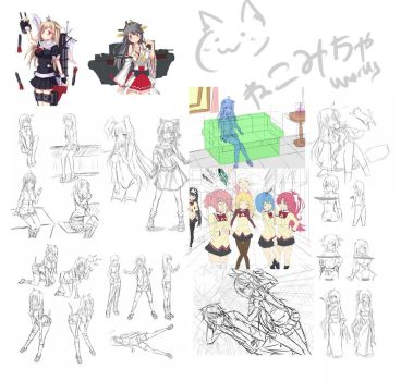 Doodle and Unfinished works compilation by Nekomicha