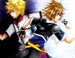 Kingdom Hearts-Roxas and Sora by elleinead