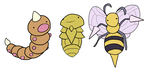 Weedle, Kakuna, Beedrill by HappyCrumble