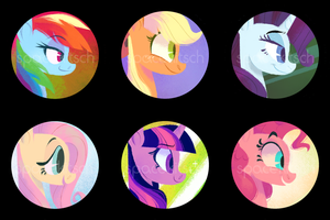 mane 6 button set by spacekitsch