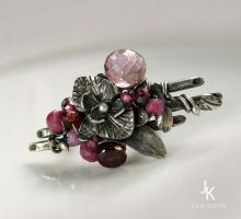 Silver ring Ikebana with orchid and bamboo by JSjewelry