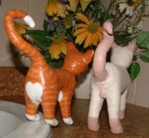 2 Sculpted Kitty Cats backside by Soniafm1027