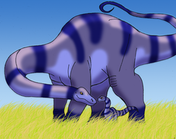 Brontosaurus Mother and Son by DaBrandonSphere