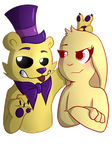 Goldie and Clover (art trade for GraWolfQuinn) by SideshowFreddy