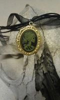 Miss Skeleton Cameo Necklace in Green by Starl33na