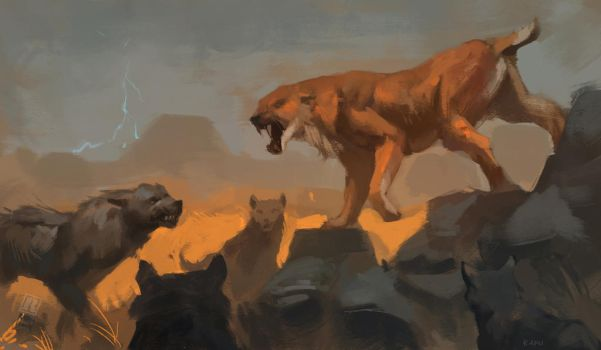 Dire Wolf pack vs. Sabertooth cat by Raph04art
