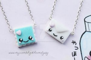 Kawaii Polymer Clay Stamp and Letter Best Friends by CharmsByIzzy