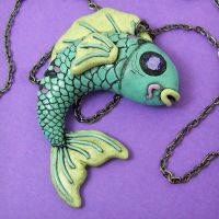 Blue Koi Fish Necklace by beatblack