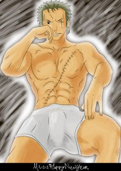 Zoro in briefs by misshappynewyear