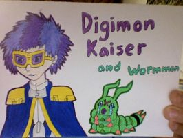 Digimon Kaiser and Wormmon by CTPikk1223