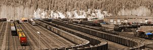 Sepia Coal Train Yard Pano by skip2000