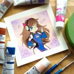 NERF THIS! D.VA Overwatch Watercolor Painting by misscoffee