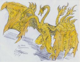 King Ghidorah by hewhowalksdeath