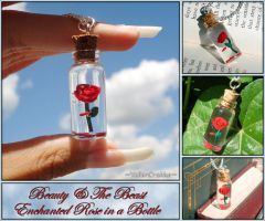 Beauty and the Beast - Enchanted Rose Bottle Charm by YellerCrakka