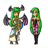 palutena and morrigan switched by ninpeachlover