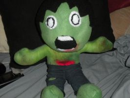 zombie plush with plush innards green color by HeatherMason76