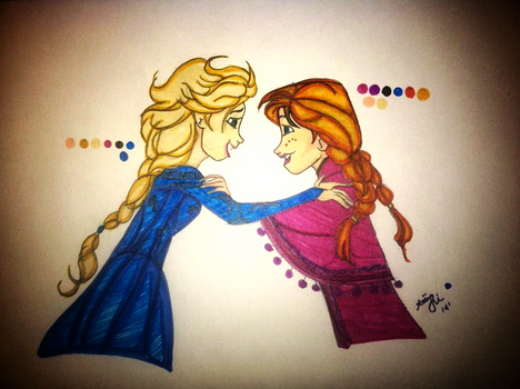 Anna and Elsa by DreamInColorz