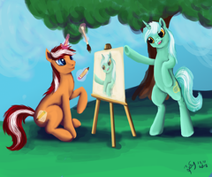 Orange Cane And Lyra Heartstrings by Dalagar