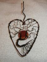Tree of Life heart pendant with red porcelain moon by ksuecsr
