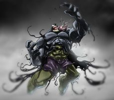 Hulk + Venom equals trouble by Dreviator