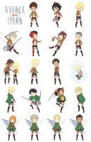 Attack On Chibis by dorodraws