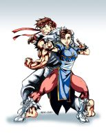 Chun Li and Ryu by the-pooper