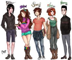 Grown-up Gravity falls plus Norman by Meenat