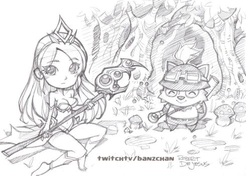 League of legends Janna and Teemo by Banzchan