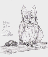 Elsa and a Fuzzy Caterpillar by TornFeathers