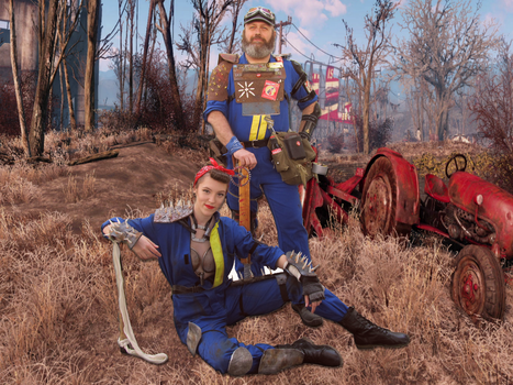 Fallout 4 raiders in vault suit by antaale