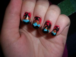 Beach Sunset Nails Inspired by Robin Moses by QueenAliceOfAwesome