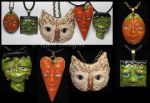 Owl, Frankenstein and Pumpkins Faces Polymer Clay by KabiDesigns