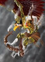 Steampunk:Garuda vs Kadru by wick3dsono
