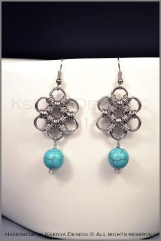 Howlite Flower Earrings by KsenyaDesign