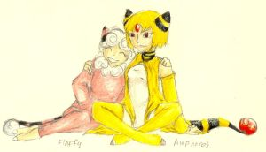 Humanized Pokemon: Flaffy and Ampharos by FuneralDyingheart