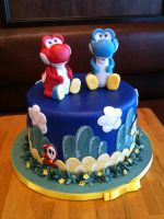 Yoshi's Island Cake view 1 by Spudnuts