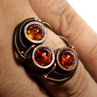 Triple Amber Steampunk Ring by CatherinetteRings