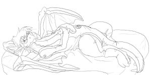 Alexia on bed lineart by DrgnAlexia