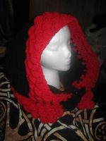 Red and Black Dragon Scale Hood by WillowForrestall