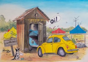 Taxi Bug's Outhouse Drama - Volksys on Camp by gypsysnail