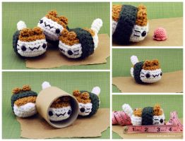 Musubi Cat Amigurumi Plush by pocket-sushi