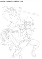 Naruto and Sasuke Lineart by endzi-z