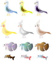 Simple Birds And Fishes by Viscious-Speed
