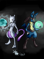 Mewtwo and Lucario by Broart888